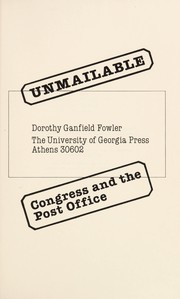 Cover of: Unmailable | Dorothy Ganfield Fowler