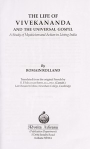 Cover of: The life of Vivekananda and the universal gospel