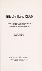Cover of: The critical index | John C. Gerlach