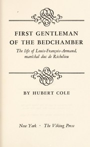 Cover of: First gentleman of the bedchamber