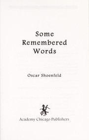 Cover of: Some remembered words