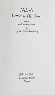 Cover of: Nehru's letters to his sister