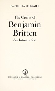 Cover of: The operas of Benjamin Britten
