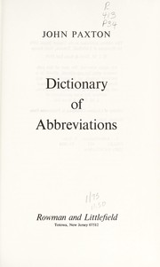 Cover of: Dictionary of abbreviations. | John Paxton