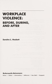 Cover of: Workplace violence
