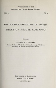 Cover of: The Portola expedition of 1769-1770, diary of Miguel Costanso
