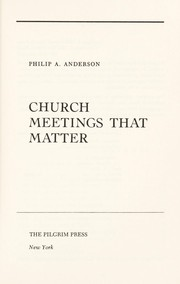 Cover of: Church meetings that matter