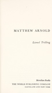 Cover of: Matthew Arnold