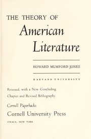 Cover of: The theory of American literature