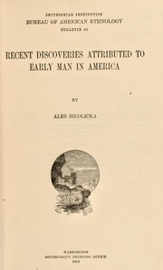Cover of: Recent discoveries attributed to early man in America