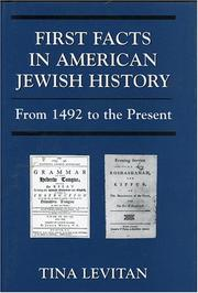 Cover of: First facts in American Jewish history | Tina Levitan