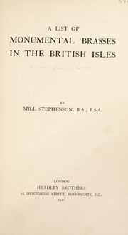Cover of: A list of monumental brasses in the British isles