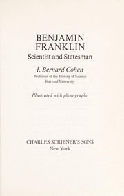 Cover of: Benjamin Franklin, scientist and statesman
