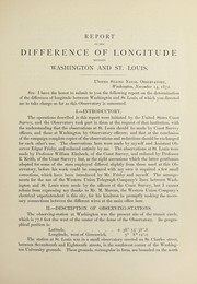 Cover of: Report on the difference of longitude between Washington and Havana