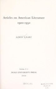 Cover of: Articles on American literature, 1900-1950 | Lewis Leary