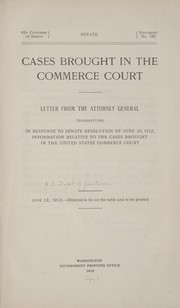 Cover of: Cases brought in the Commerce court. | United States. Dept. of Justice.