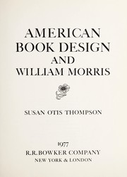 Cover of: American book design and William Morris