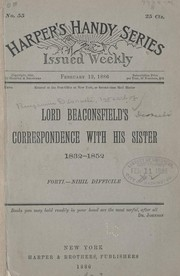 Cover of: Lord Beaconsfield's correspondence with his sister, 1832-1852