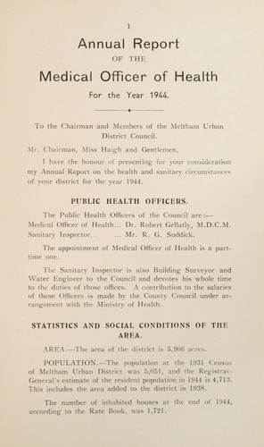 [Report 1944] by Meltham (England). Urban District Council