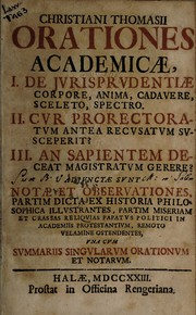 Cover of: Orationes academicae -