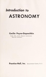 Cover of: Introduction to astronomy