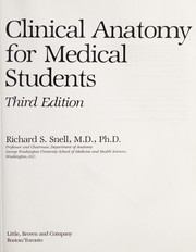 Cover of: Clinical anatomy for medical students | Richard S. Snell