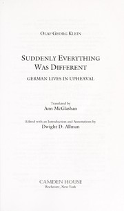 Cover of: Suddenly everything was different