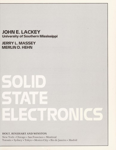 Solid state electronics by John E. Lackey