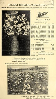 Special revised price list on Lilium Regale Myriophyllum bulbs and seed