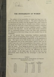 Cover of: The insurability of women