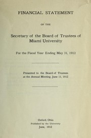 Cover of: Financial statement of the Secretary of the Board of Trustees of Miami University