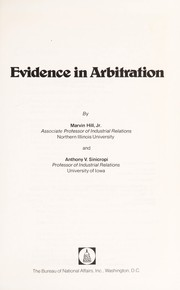 Cover of: Evidence in arbitration