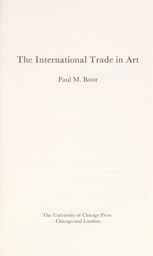 The international trade in art by Paul Bator