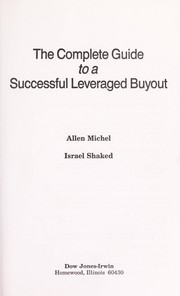 Cover of: The complete guide to a successful leveraged buyout