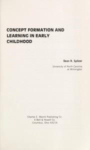 Cover of: Concept formation and learning in early childhood