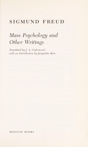 Cover of: Mass psychology and other writings | Sigmund Freud