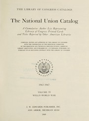 Cover of: The national union catalog: a cumulative author list representing Library of Congress printed cards and titles reported by other American libraries, 1968-1972.