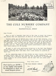 Cover of: The Cole Nursery Company, 48 years at Painesville, Ohio | Cole Nursery Company