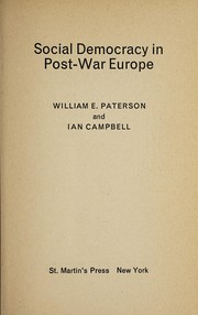 Cover of: Social democracy in post-war Europe | William E. Paterson