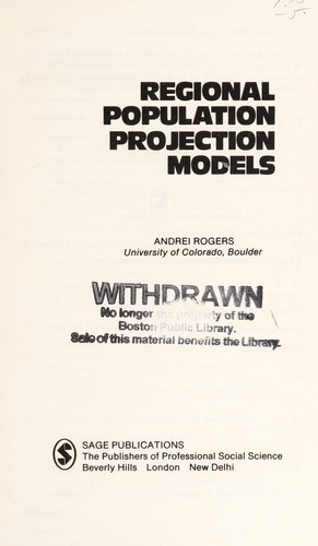 Regional population projection models by Andrei Rogers