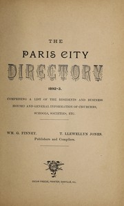 Cover of: The Paris city directory, 1892-3 | William G. Finney