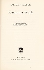 Cover of: Russians as people. | Wright Watts Miller