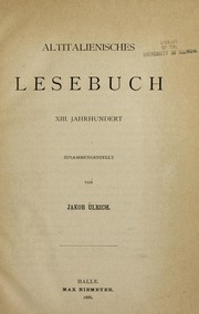 Cover of: Altitalienisches lesebuch