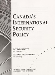 Cover of: Canada's international security policy
