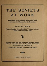 Cover of: The Soviets at work | Vladimir Ilich Lenin
