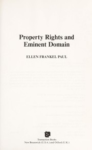 Cover of: Property rights and eminent domain