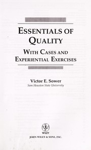 Cover of: Essentials of quality with cases and experiential exercises