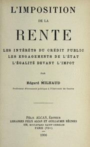 Cover of: L'imposition de la rente