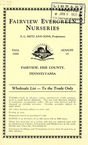 Cover of: Wholesale list to the trade only | Fairview Evergreen Nurseries