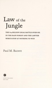 Cover of: Law of the jungle
